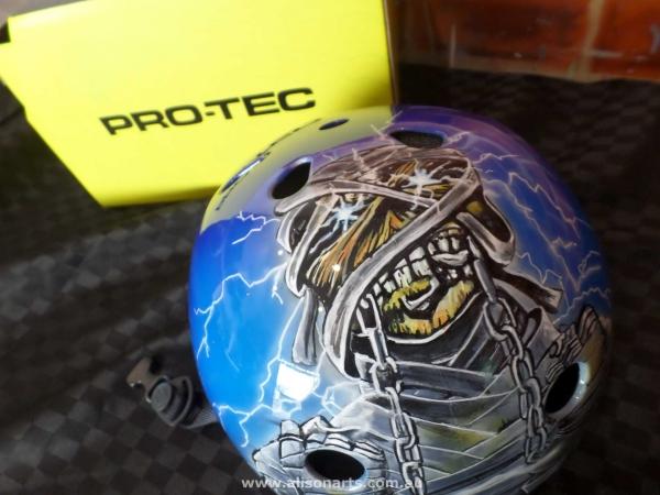 Custom Painted skate helmet - Iron Maiden. alisonarts.com.au - Airbrush Artwoks