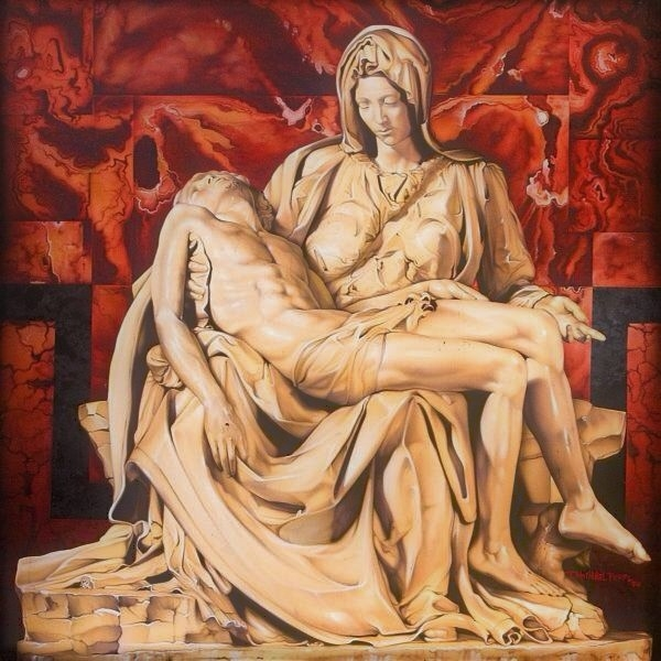 Michelangelo's Pieta by Troy Pierce Airbrush oils on canvas 48''x48''