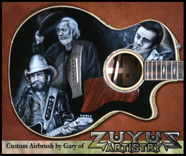 Merle Haggard on Taylor Guitar - Kustom Airbrush