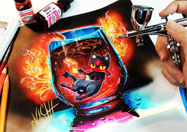 Litten Hot Lava Supreme by Naschi on DeviantArt - Airbrush Artwoks