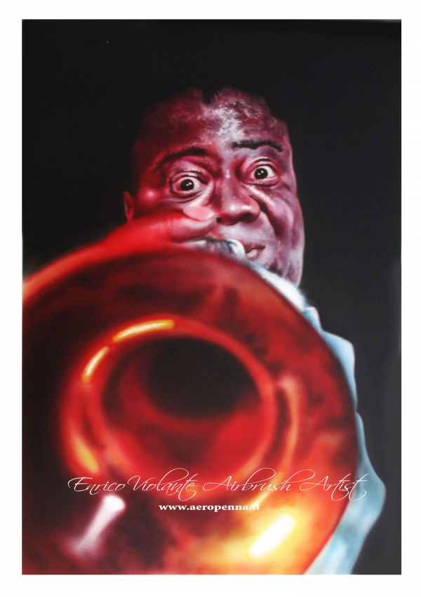 l. armstrong, airbrush ink on paper - Airbrush Artwoks