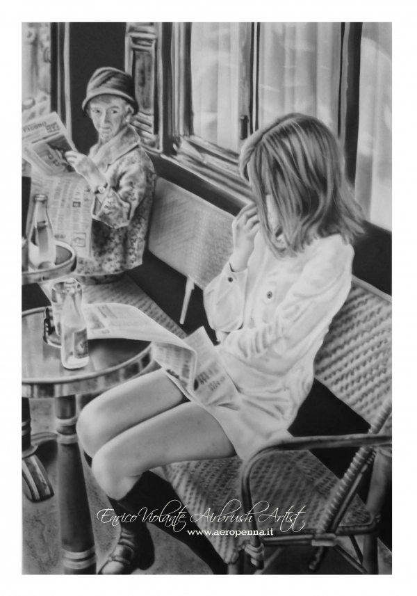 Henri Cartier-Bresson -Brasserie...airbrush on paper