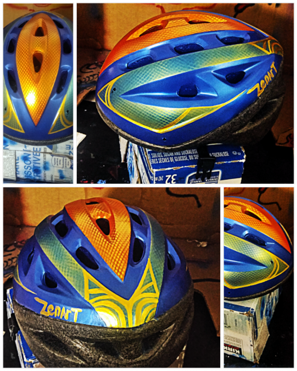 This is an adult cycling helmet I airbrushed