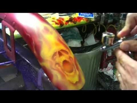 ▶ Six Pack O Skullz airbrushing with real fire by Scott MacKay - YouTube - Airbrush Videos