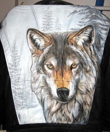 Custom airbrushed Leather Jacket by Tim Miklos of iPaint Airbrush Studio