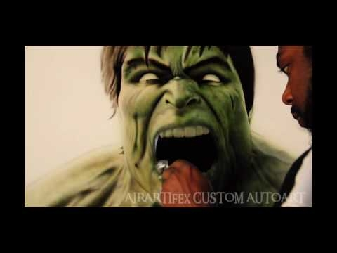 """▶ Airartifex custom autoart- airbrushing """"the hulk"""" - Airbrush Videos"""