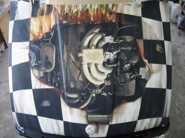 Racing bmw hood