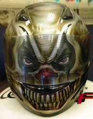 Custom Painted Evil Clown Helmet - Airbrush Artwoks