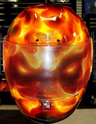 Custom Painted Flaming Face Helmet - Airbrush Artwoks