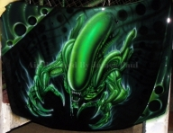Aliens airbrush on hood by james366 - Airbrush Artwoks