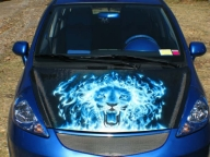 Flaming Lion Hood - Kustom Airbrush