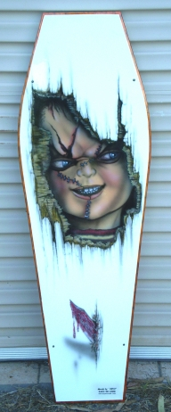 "Kids Coffin Lid of ""Chucky""    ( coffee table) - Kustom Airbrush"