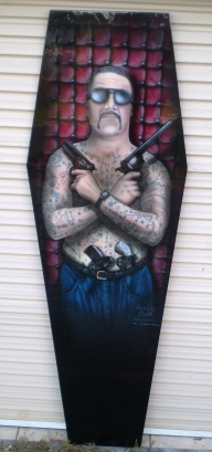 "Coffin Lid as Card Table -  "" Chopper Read""  gangster - Kustom Airbrush"
