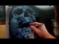 Airbrushing A Skull Guitar - AcE Kustoms - Creative Learning