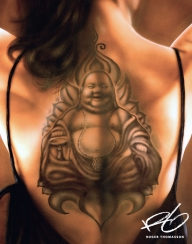 """""""Buddah - backpiece"""" Airbrush painting with acrylics on paper panel.  Originalsize, approx: 50x70 cm.  2014 Roger Thomasson - My favorite on Justairbrush"""