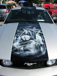 Ford Mustang hood art - Airbrush Artwoks