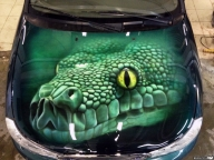 car, airbrushing, painting, hood, images, green, snake - Airbrush Artwoks