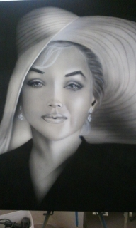 Ms.Monroe Canvas for Cancer Society Auction - Airbrush Artwoks