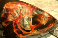 Money,Skull and flames - Airbrush Artwoks
