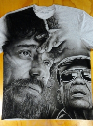 2 Airbrush Portraits on Tshirt - Photorealism