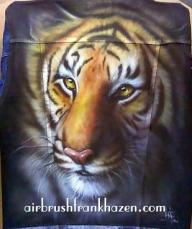 Tiger Airbrushed Denim Jacket - Airbrush Artwoks