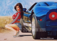 """""""REVVED-UP!"""" (C) 2010 Jon Hul This is my airbrush painting, rendered with acrylic paints on illustration board. The model is Denise Milani, and the car is a 2009 Fort-GT Custom. - Airbrush Artwoks"""