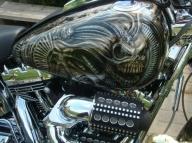 Harley Davidson Tank Giger Skull design - Kustom Airbrush
