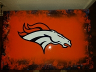 Airbrushed Denver Broncos coffee table for man cave.  By ZimmerDesignZ.com - My Designs