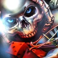 Skull and dice airbrush artwork - Airbrush Artwoks