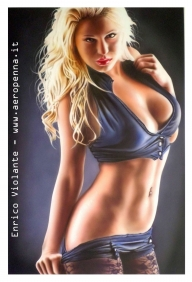 female model, cm.40x60, acrylic colours on schoeller - Airbrush Artwoks