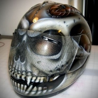 Silver Skull Design Crash Airbrush Helmet - Airbrush Artwoks