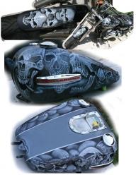 Skulls on Harley - Kustom Airbrush