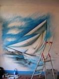 Boat on wall - by ArteKaos Airbrush - ArteKaos Airbrush