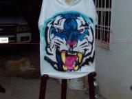 airbrush blue tiger - trife gang clothing