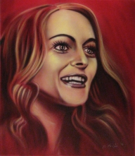 'Heather Graham'  Portrait on red. 2014  - myStuff