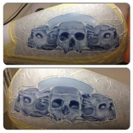 Harley Tank mural, white under painting.  - Airbrush Step by Step
