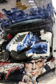 Engine compartment, 2014 Mustang GT. House of Kolor. - Rides