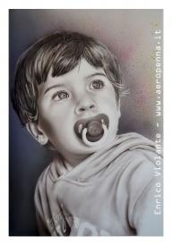 mio nipote, 3 anni, aerografia su cartoncino, cm.40x60 (My nephew, 3 years, airbrushing on cardboard, cm.40x60) - Airbrush Artwoks