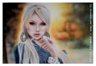 airbrush portrat, cm.40x60 acrilic color on paperboard - Airbrush Artwoks