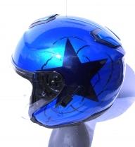 base gris métal-candy bleu Harley-davidson - helmets