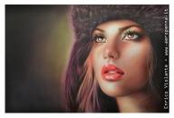 ritratto di modella....airbrush portrait, cm.40x60, e'tac color marissa series - Airbrush Artwoks