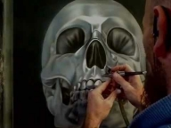 ▶ Airbrushing A Chrome Skull-Stage 3 - Airbrush Videos