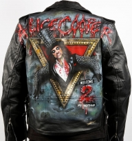 Stunning Welcome 2 My Nightmare Leather Jacket By Danielle Vergne by Danielle Vergne - Airbrush Artwoks