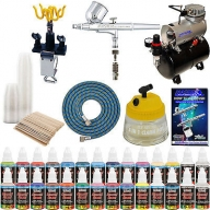 $177 for DUAL-ACTION AIRBRUSH KIT Air Compressor 24 US Art Supply Paint Color Set Gift - Airbrush Deals