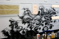 airbrush on caravan. WOHNZILLA - Airbrush Artwoks