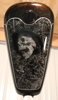 Stunning!! Freehanded skull/ war scene-House of Kolor, custom kandy over miroflake in an old school scallop design - Airbrush Art