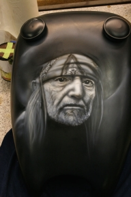 Willie Nelson on Harley tank - Kustom Airbrush