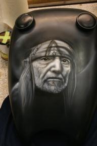 Willie Nelson on Harley tank - Kustom Airbrush