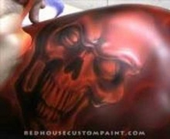 ▶ RedHouse Custom Paint, Inc. Airbrushing a blazing skull - Airbrush Videos