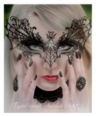 Maria Amanda Schaub, gothic model, airbrush on paper - Airbrush Artwoks